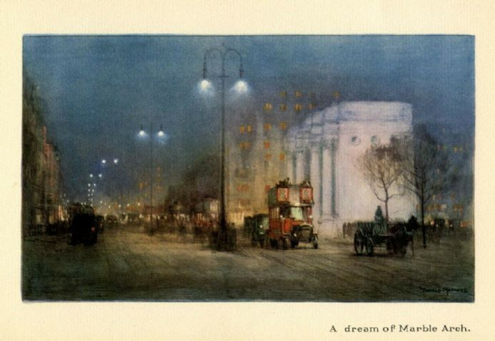 1926 Marble Arch LONDON Vintage Print NIGHT TIME SCENE Bus; Cart Horse; Traffic
